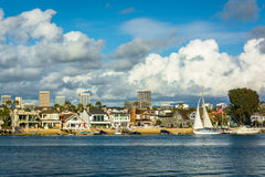 View of Balboa Island, and buildings in Irvine  Stock Image