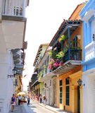 View of balconies in Cartagena, Colombia Royalty Free Stock Photography