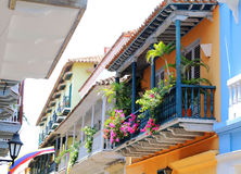 View of balconies in Cartagena, Colombia Stock Images