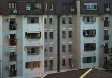 View from balcony on apartment building district stock images
