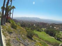 View from balcony of Castaway restaurant in Burbank California. Restaurant hillside and the moon overlooks burbank valley, California Stock Images