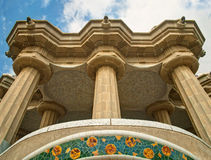 View of balcony with columns and mosaic decoration from below Royalty Free Stock Photography