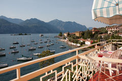 The view from the balcony of the hotel on lake Garda, Italy. The view from the balcony of the hotel on the morning of Garda lake with yachts, Italy Royalty Free Stock Photography