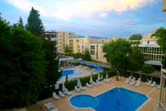 View from balcony of hotel on swimming pool. Bulgaria. Sunny beach Royalty Free Stock Image