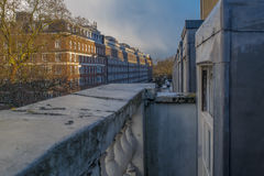 View from the balcony. A picture in the evening next to Tavistock Square in London. Taken from the fourth floor of Connaught Hall royalty free stock image