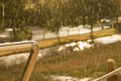 View from a balcony of pouring rain Stock Image