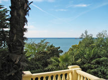 View from a balcony. Sea view from a classic balcony royalty free stock photography
