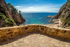 View from the balcony to the beach in Tossa de Mar Royalty Free Stock Photo
