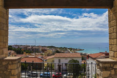 view from balcony to coast in Tarragona, Spain Royalty Free Stock Images