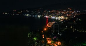 View from balcony to night sea bay. Royalty Free Stock Photo