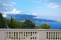 View from balcony to sea and mountains Stock Photography