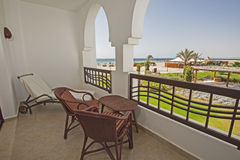 View from the balcony of a tropical resort hotel Stock Photography