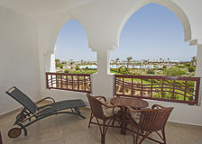 View from the balcony of a tropical resort hotel Stock Images