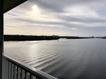 View from the balcony. Winter 208. View from the balcony on the bay at Tampa. January 2018 Stock Photos