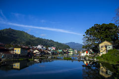 View of Bale Village. Takengon, Central Aceh, Aceh, Indonesia, from Peusangan River Royalty Free Stock Image