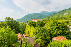 View the Balkan Mountains in the summer in Montenegro former Yugoslavia covered  green trees Royalty Free Stock Image