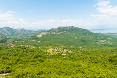 View the Balkan Mountains in the summer in Montenegro former Yugoslavia covered  green trees Royalty Free Stock Images