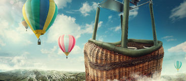 View from balloon. Travel and Tourism. Top view of the lake. View from balloon stock photo