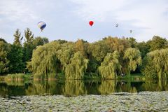 The view on balloons are over Olexandria Park Stock Image