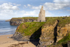View of the  Ballybunion castle beach and cliffs Stock Images