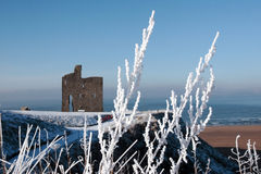 View of ballybunion castle and beach in snow. A seasonal snow covered view of atlantic ocean and ballybunion castle beach and cliffs on a frosty snow covered Royalty Free Stock Photography