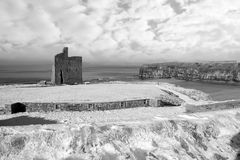 View of ballybunion castle and beach in white s. A seasonal snow covered view of atlantic ocean and ballybunion castle beach and cliffs on a frosty snow covered Stock Images