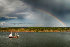 View on Baltic sea and rainbow from the upper deck Stock Image