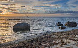 View on the Baltic Sea at sunrise, Kurzeme, Latvia Royalty Free Stock Photo