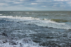 View of the Baltic Sea in the winter during a strong wind. Royalty Free Stock Image