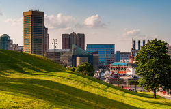View of the Baltimore skyline from Federal Hill. stock image