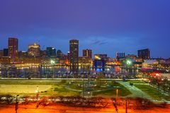 View on Baltimore skyline and Inner Harbor from Federal Hill at dusk. Maryland royalty free stock photo