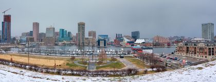 View on Baltimore skyline and Inner Harbor from Federal Hill. Maryland royalty free stock photo