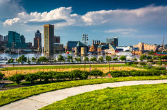 View of the Baltimore skyline and Inner Harbor from Federal Hill Royalty Free Stock Photo