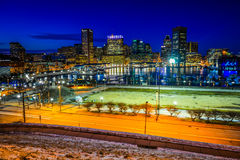 View of the Baltimore skyline and Inner Harbor at night, seen fr Royalty Free Stock Images