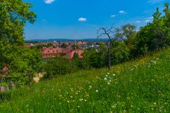 View of Bamberg, Germany. Image of flowers and trees on the Michelsberg in Bamberg, Germany Royalty Free Stock Photo