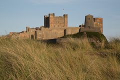View of Bamburgh Castle, Northumberland, UK. Royalty Free Stock Image