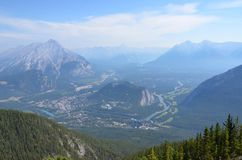View of Banff from Banff Gondola. View of Banff from the top of Banff Gondola stock photography