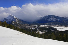 View on Banff with Mt Rundle  and goats Royalty Free Stock Image