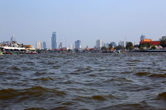View on Bangkok from boat on river Royalty Free Stock Images