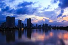 View from Bangkok bridge before sunrise Royalty Free Stock Photos