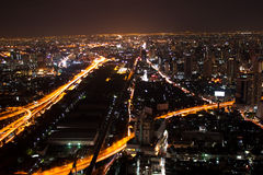 View of Bangkok city at night from high building Royalty Free Stock Images