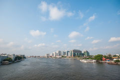 View of Bangkok cityscape with Chaopraya river. Taken from Bangkok Stock Image