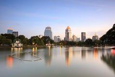 View of Bangkok Cityscape from Lumpini Park Stock Photo