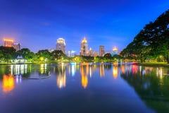 View of Bangkok Cityscape from Lumpini Park Royalty Free Stock Photo