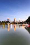 View of Bangkok Cityscape from Lumpini Park Royalty Free Stock Photography