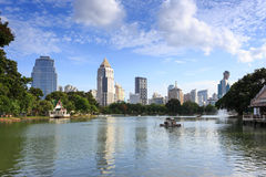 View of Bangkok Cityscape from Lumpini Park Stock Photos