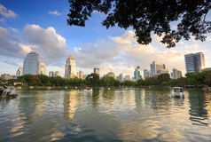 View of Bangkok Cityscape from Lumpini Park Stock Images