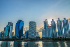 View of Bangkok cityscape at sunrise Royalty Free Stock Photography