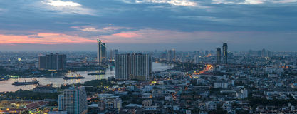 View of Bangkok Cityscape at Twight Stock Photo