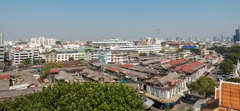 View of Bangkok from the Golden Mount at Wat Saket.  Royalty Free Stock Photography